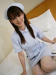 Naughty nurse Himeno plays peek a boo panties
