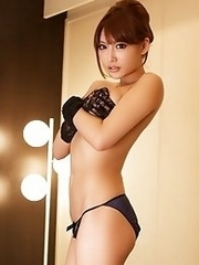 Busty and sexy Japanese av idol Asuka Kirara shows her amazing body