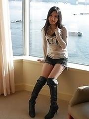 Slutty and cute Japanese av idol Airi Minami gets a full load of cum on her face