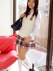 Miho Takai in school uniform is very playful before classes
