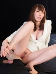 Aya Kisaki shows off her pale body before giving a great footjob on cam