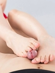 Red lingerie babe Shino Aoi using her soft soles to tease him, her bush is also great