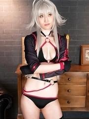 Sexy cosplay Mizuki POV sucks cock and cum in her mouth